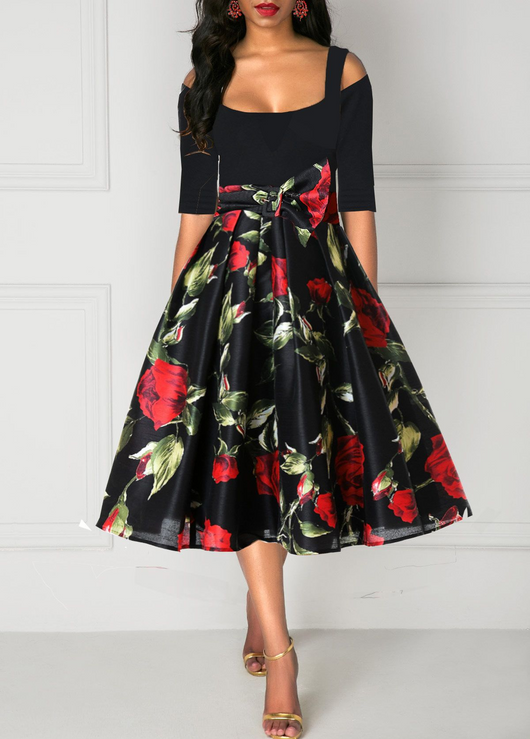 Half Sleeve Rose Print Tie Waist Cold Shoulder Dress