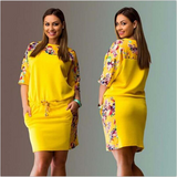 Middle Sleeve Printed Plus Size Dress