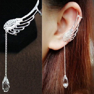 Wing Shape Design Crystal Pendant Decorated Earrings
