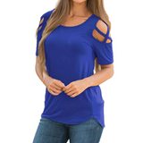 Short Sleeve Strappy Cold Shoulder T-Shirt