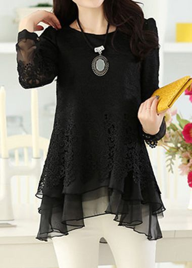 Long Sleeve Layered Lace Panel Blouse