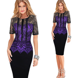 See Through Sleeve Casual Sheath Fitted Bodycon Dress