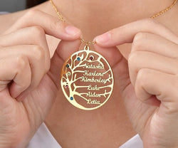 Engraved Family Tree Name Necklace 60% OFF