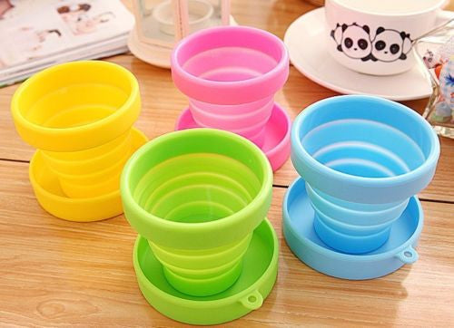 Cute Colourful Silicone Folding Cup Outdoor Camping Telescopic Collapsible