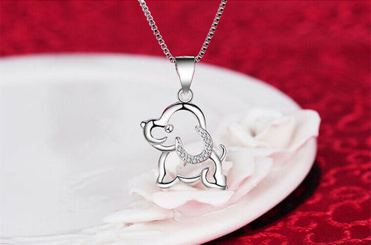 Dog Doggy Pendant 925 Sterling Silver Chain Necklace Womens Girls Jewellery Gift