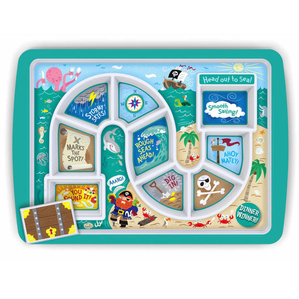 Fred Dinner Winner Children's Food Tray, Pirate and Dinosaur Kids Dinner Plate
