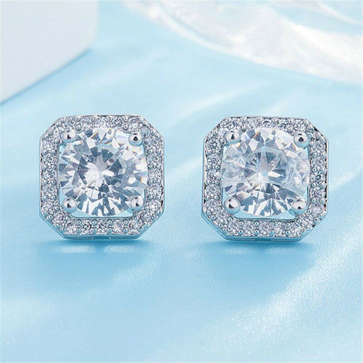 Crystal Square Stone Stud Earrings 925 Sterling Silver Womens Jewellery Gift New