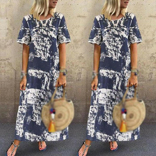 Women Dress Ladies Holiday Summer Maxi Casual Fashion Dress Short Sleeve