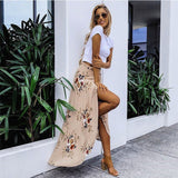 Women Summer High Waist Maxi Skirts Pleated Beachwear Chiffon Long Casual Dress