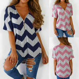 UK Women V Neck T-Shirt Ladies Summer Loose Tunic Casual Blouse Top Size 10-18