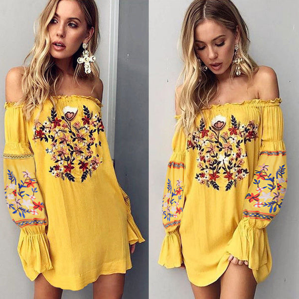 Emma Off Shoulder Bell Sleeve Dress