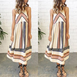 Womens Ladies Casual Sleeveless Striped Beach Swing Midi Dress Size 10 12 14 16