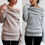 Women Cowl Neck Sweater Midi Dress Longsleeve Baggy Jumper Pullover Coldshoulder