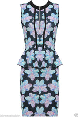 Kelly Brook Celebrity Floral Print Bodycon Party Sleeveless Dress