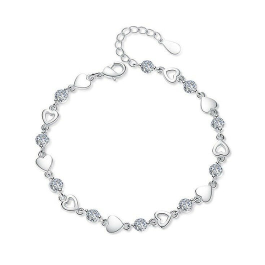 Crystal Heart Charm Link Bracelet 925 Sterling Silver Womens Girl Jewellery Gift