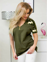 UK Women Leopard Print Short Sleeve Zipper Shirt Tops Ladies Loose Blouse V-Neck