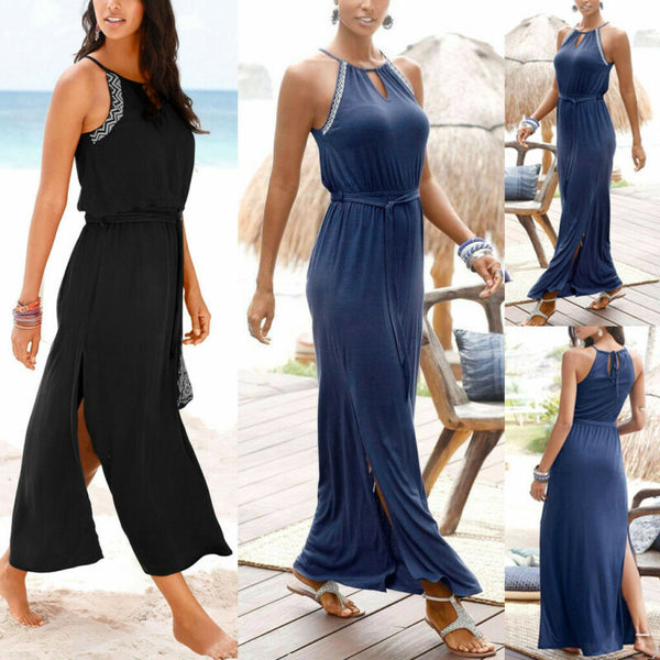 Fashion Womens Summer Boho Beach Loose Casual Sleeveless Long Maxi Dress HQY