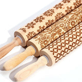 Embossed Wooden Christmas Rolling Pin  Great For Baking Santa Cookies