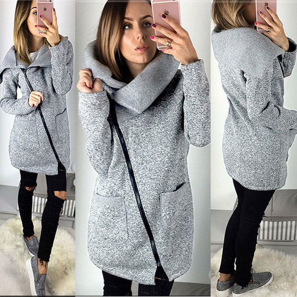 UK Womens Winter Warm Casual Hoodies Jacket Coat Long Zipper Sweatshirt Outwear