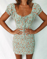 UK Womens Holiday Mini Floral Dress Ladies Bodycon Beach Summer Dress Size 6 -14