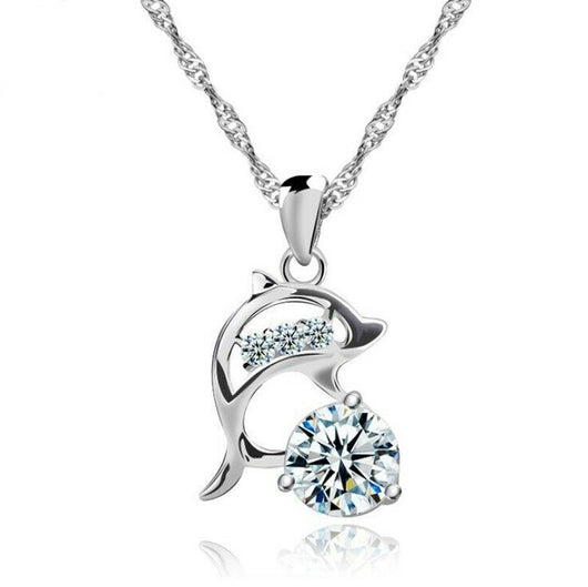 Dolphin Pendant 925 Sterling Silver Chain Necklace Womens Girls Jewellery Gift