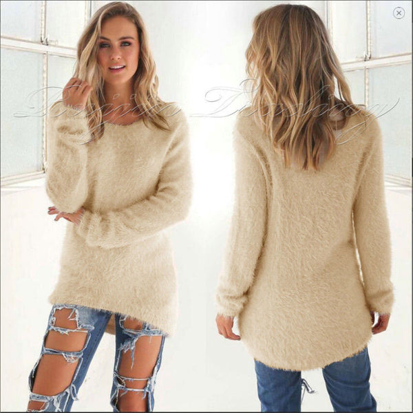 New Womens Winter Long Sleeve Jumper Tops Zipper Sweater Loose Casual Mini Dress