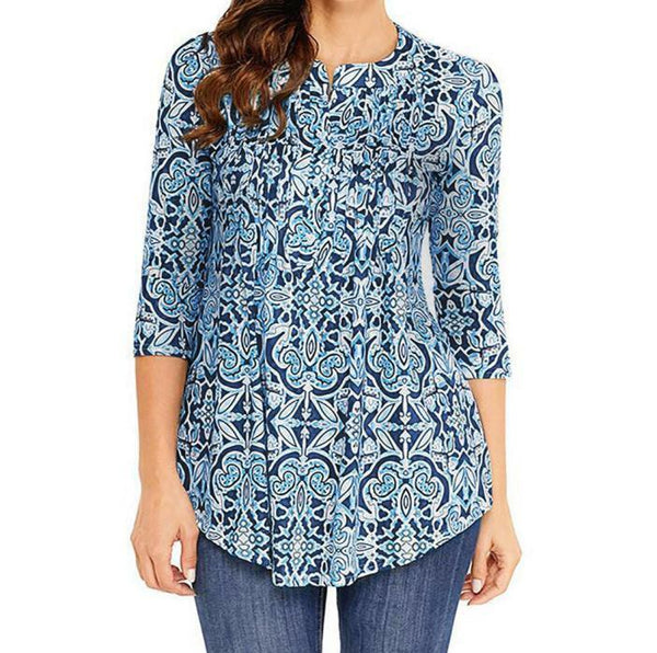 Women Vintage Printed Tunic Tops Plus Casual Loose Tops Blouse Shirt T-Shirt US