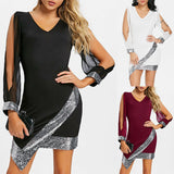 Women Sexy Skinny Cutout Slit Sleeve Sequined Chiffon Cocktail Party Club Dress