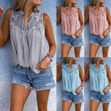 Womens V Neck Tank Tops Lace Cami Sleeveless T-Shirt Summer Vest Blouse Fashion