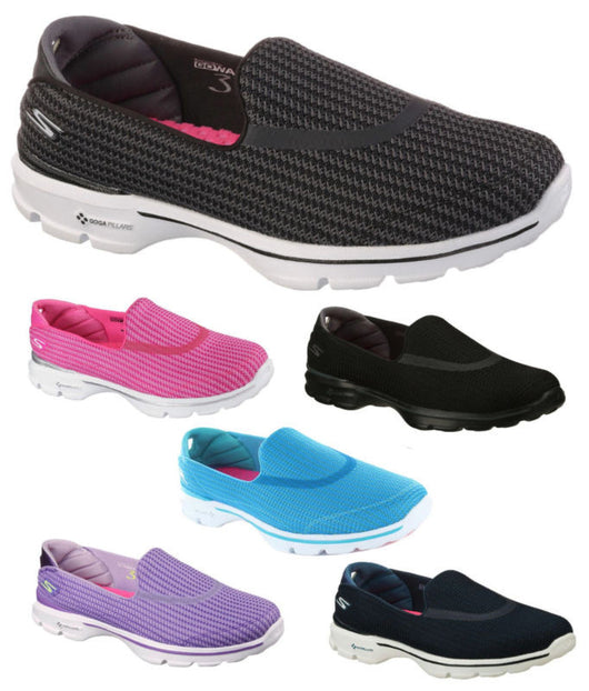 Ladies New Skechers Go Walk 3 Shoes Trainers Black Navy Turquoise Pink Purple
