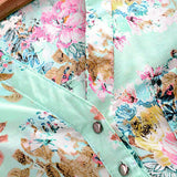 Women V Neck Floral Casual Long Sleeve Chiffon Top Shirts Blouse