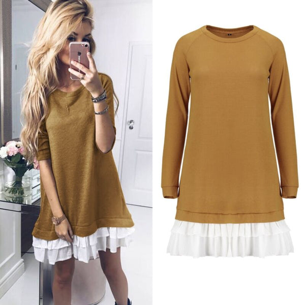 Elsie Long Sleeve Winter Sweater Short Dress