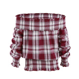 UK Womens Tartan Bardot Off Shoulder Tops Ladies Summer Checked T-Shirts Blouse