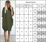 Womens Ladies Long Sleeve Midi Dress Pockets Loose Baggy Long Tops Plus Size 16