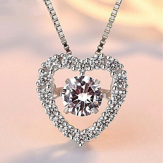 Heart Crystal Stone Pendant 925 Sterling Silver Chain Necklace Womens Jewellery