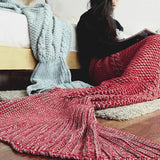 Hot Mermaid Tail Handmade Crocheted Cocoon Sofa Blankets Beach Quilt Rug Knit UK