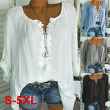 Womens Plus Size T Shirt Blouse Pullover Ladies Casual Tee Long Sleeve Tops 6-22