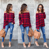 Long Sleeve Plaid Off-Shoulder Shirt