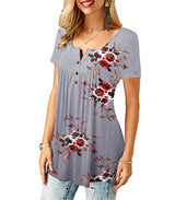 Womens Summer Floral V Neck Blouses Loose Baggy Tops Tunic T Shirts Plus Size