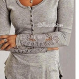 UK Women Casual Loose Long Sleeve Ladies Lace T-Shirt Tops Blouse Fashion