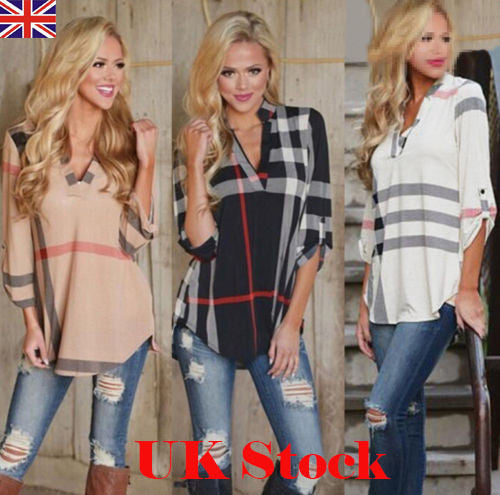 f70a9331df NEW Womens Blouse Striped Plaid Long Sleeve Ladies Top T Shirt Loose Casual  Tops