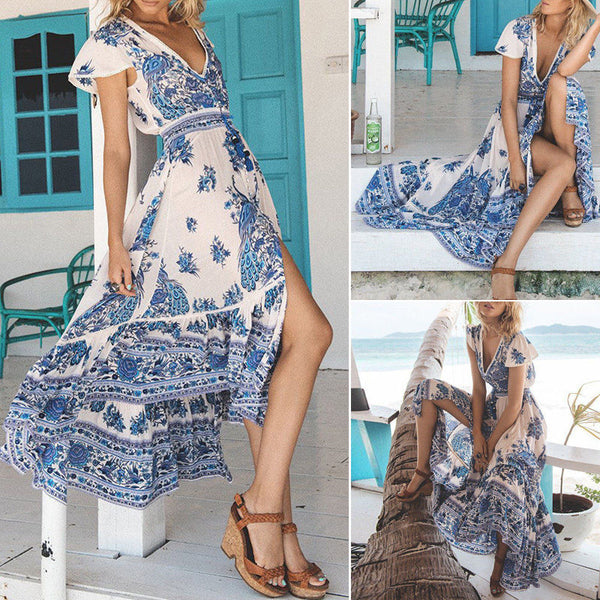 Women Boho Vintage Long Maxi V-neck Dress Evening Party Cocktail Beach Sundress