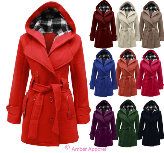 NEW LADIES HOODED BELTED FLEECE JACKET WOMENS COAT TOP SIZES