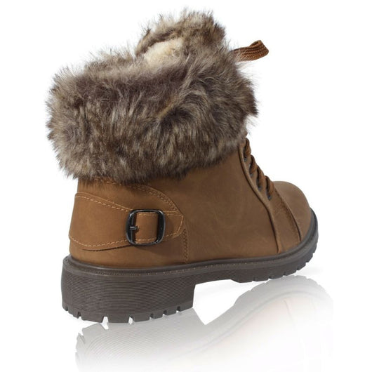LADIES FAUX FUR LINED GRIP SOLE GIRLS WINTER SNOW ANKLE BOOTS TRAINER SHOES SIZE