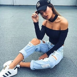 New Women Slim Off Shoulder Shirt Crop Tops Slight Perspective Blouse Sweater