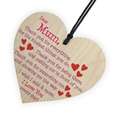 Mum I Love You Everyday Wooden Hanging Heart