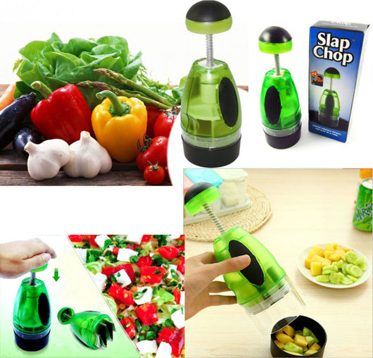 SLAP CHOP Chopper, VEGETABLE, NUTS, CHOCOLATE in Single Motion 3 Blade Action