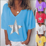 Summer Womens Ladies T Shirt Star Printed Loose Tops Short Sleeve Shirts Blouse