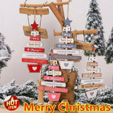 Merry Christmas Wooden Pendant Hanging Xmas Tree Decor