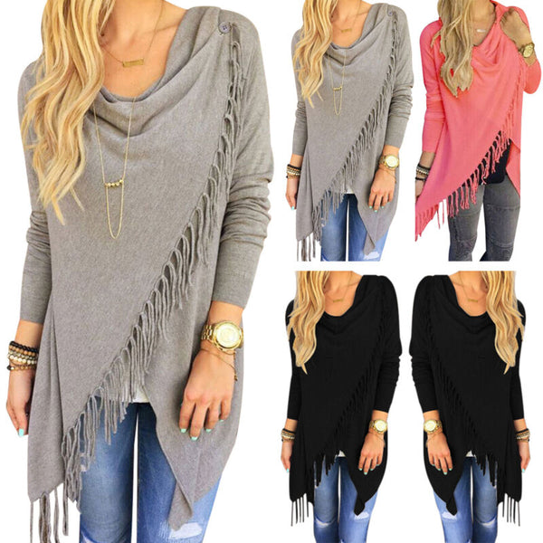 Women Cowl Neck Casual Long Sleeve Jumper Sweater Cardigan Fringe Shawl Top Coat